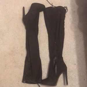 Black Thigh High Heels